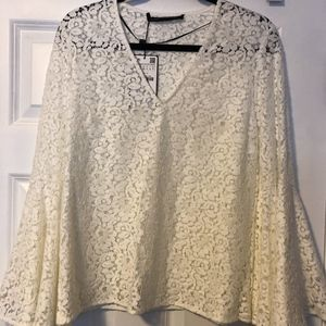 Zara Lace Bell Sleeve Blouse NWT
